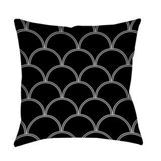 Thumbprintz Art Deco Circles Black and White Throw/ Floor Pillow