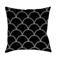 Art Deco Circles Black and White Throw/ Floor Pillow