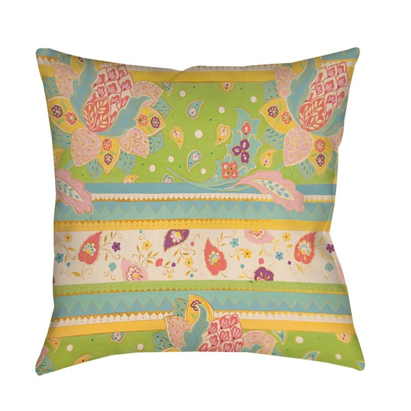 Floral Stipe with Jacobean Throw/ Floor Pillow. Opens flyout.