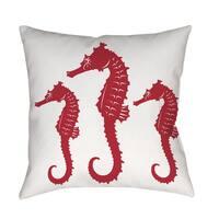 Nautical Nonsense Red White Seahorses Throw/ Floor Pillow