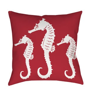Thumbprintz Nautical Nonsense White Red Seahorses Throw/ Floor Pillow