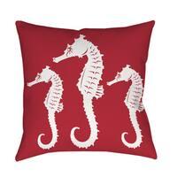 Nautical Nonsense White Red Seahorses Throw/ Floor Pillow