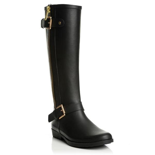 Henry Ferrera Women's Matte Black Rubber Rain Boots - Free ...