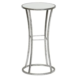 Geometric Leaf Finished Metal End Table with Mirrored Top