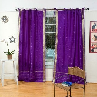 Hand-woven Purple Tie-top Sheer Sari Curtain Panel Pair (India)