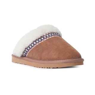 Muk Luks Women's 'Dawn' Light Brown Suede Scuff Slippers