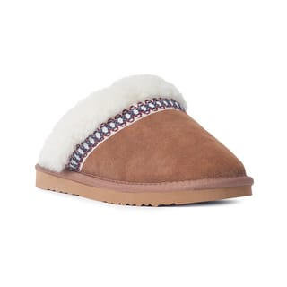 Muk Luks Women's 'Dawn' Light Brown Suede Scuff Slippers|https://ak1.ostkcdn.com/images/products/9329978/P16489255.jpg?impolicy=medium