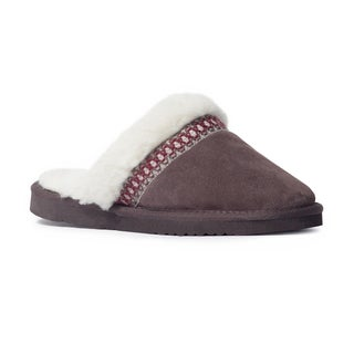 Muk Luks Women's 'Dawn' Dark Brown Suede Scuff Slippers