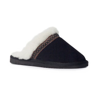 Muk Luks Women's 'Dawn' Black Suede Scuff Slippers