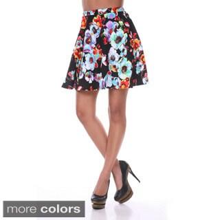 White Mark Women's Floral Print Flared Mini Skirt