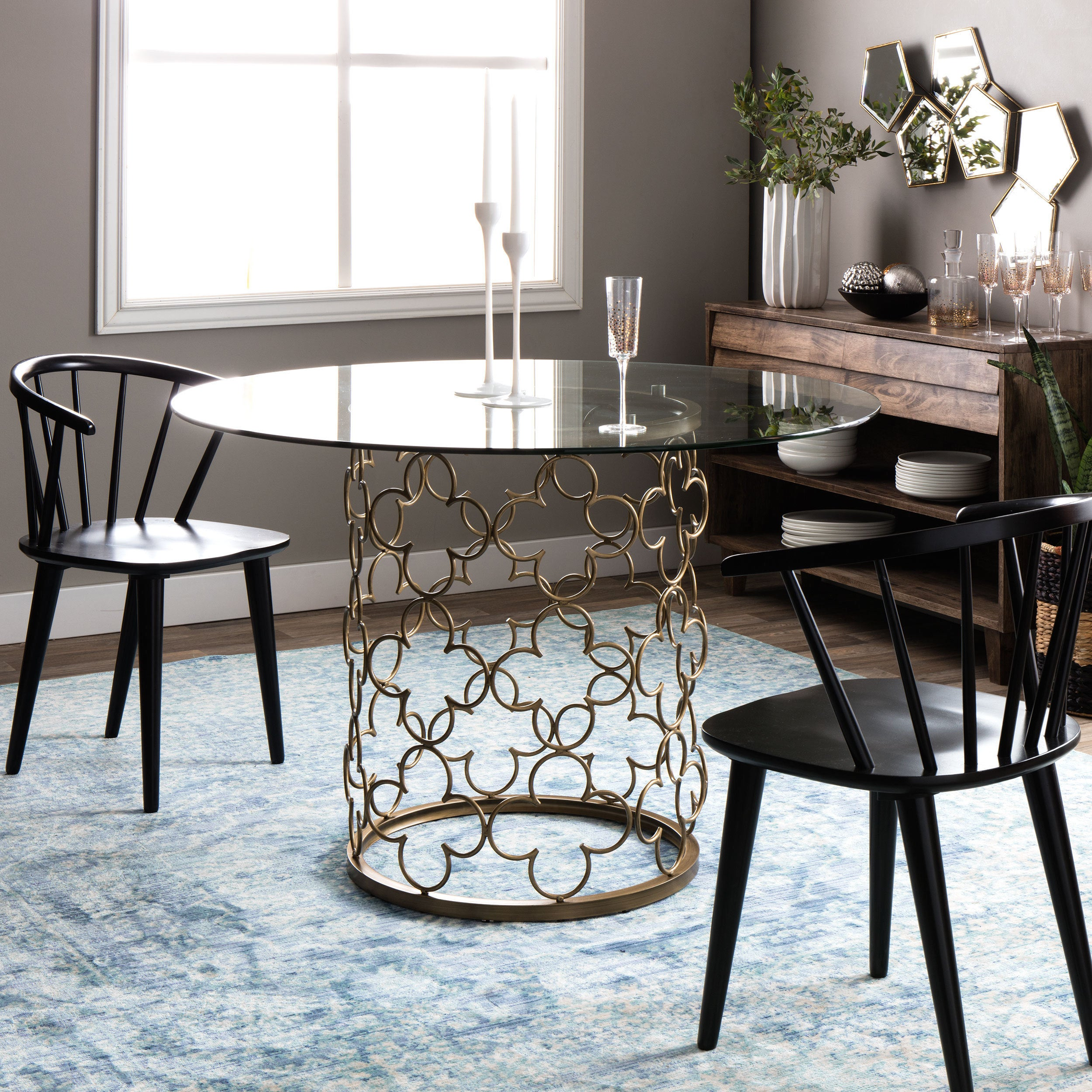 Details About Glass Dining Table Quatrefoil Brush Gold Metal Round Small  Kitchen Furniture