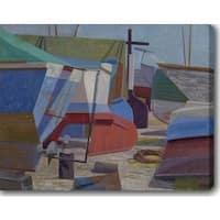 Boats' Oil on Canvas Art - Multi