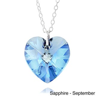 Crystal Ice Sterling Silver Birthstone Crystal Heart Necklace (More options available)