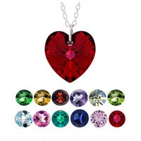 Crystal Ice Sterling Silver Birthstone Crystal Heart Necklace