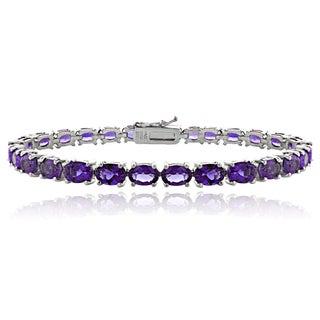 Glitzy Rocks Sterling Silver 12 1/2ct TGW Amethyst Tennis Bracelet