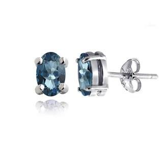 Glitzy Rocks Sterling Silver 1 1/10ct TGW London Blue Topaz Oval Stud Earrings