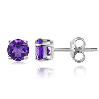 Glitzy Rocks Sterling Silver 4/5ct TGW African Amethyst 5mm Round Stud Earrings