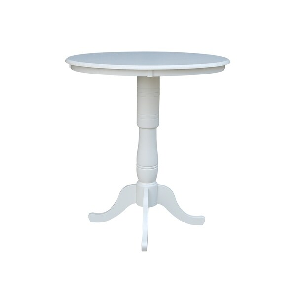 Ordinaire International Concepts Linen White 36 Inch Round Pedestal Table With 6 Inch  Extensions
