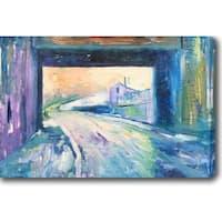 The Blue Path' Oil on Canvas Art - Multi