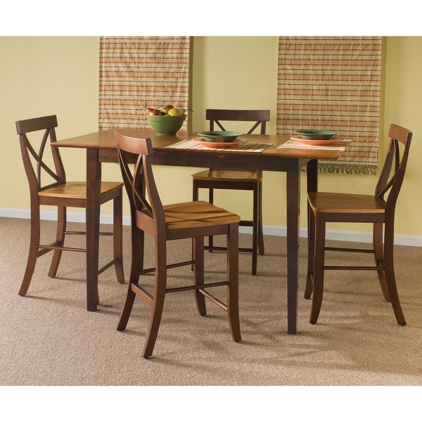Counter Height Cinnamon Espresso 5 Piece Dining Set