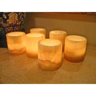 Set of 6 Egyptian Alabaster Votive Candle Holders (Egypt)