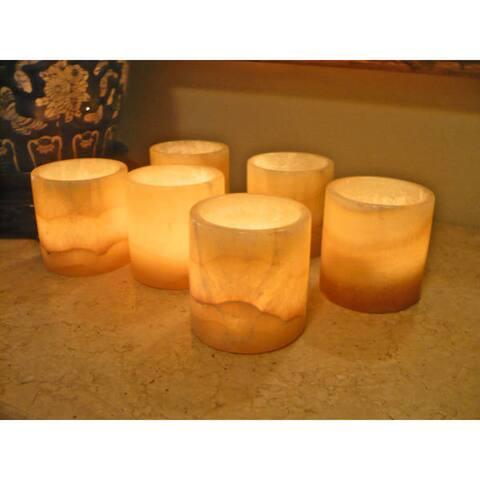 Handmade Alabaster Votive Candle Holder, Set of 6 (Egypt)