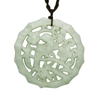 Happy Bird Green Jade Pendant Necklace (China)