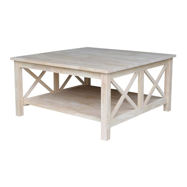 Shop Hampton Unfinished Solid Parawood Square Coffee Table Ships