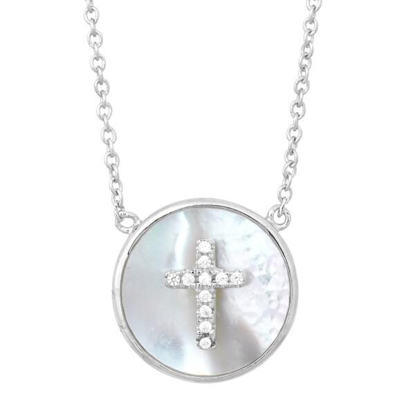 La Preciosa Sterling Silver Circle Mother of Pearl with Cubic Zirconia Cross Necklace