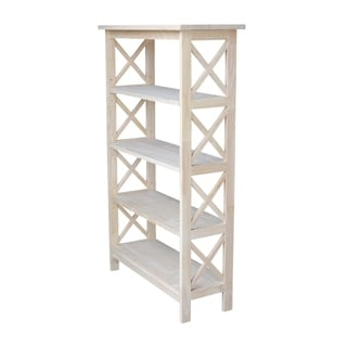 Unfinished Parawood Four-tier X-sided Shelf Unit