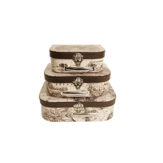 Wald Imports Decorative World Mat Suitcases (Set of 3)