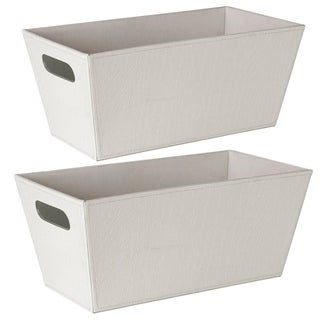 Wald Imports White Faux Leather Decorative Tote Boxes (Set of 2)
