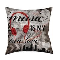 Music is My True Love Indoor/ Outdoor Throw Pillow