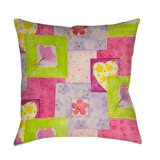 Thumbprintz Hearts and Flowers Indoor/ Outdoor Throw Pillow