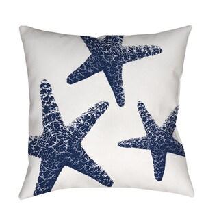 Nautical Nonsense Blue White Starfish Indoor/ Outdoor Throw Pillow