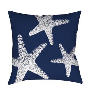 Nautical Nonsense White Blue Starfish Indoor/ Outdoor Throw Pillow