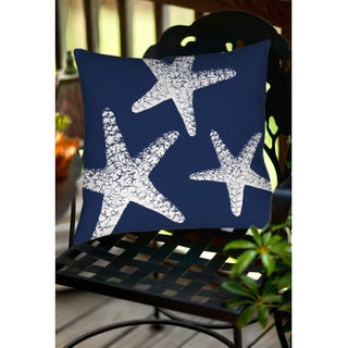 Nautical Nonsense White Blue Starfish Indoor/ Outdoor Throw Pillow (3 options available)
