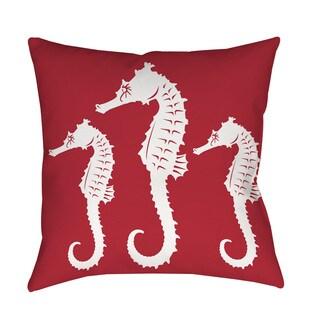 Nautical Nonsense White Red Seahorses Indoor/ Outdoor Throw Pillow