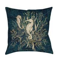 Sea Horse Vignette Indoor/ Outdoor Throw Pillow