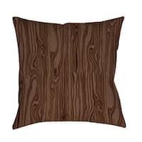 Wood Grain Large Scale Brown Indoor/ Outdoor Throw Pillow