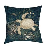 Sea Turtle Vignette Indoor/ Outdoor Throw Pillow