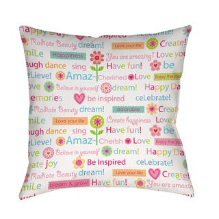 Happy Day Words Indoor/ Outdoor Throw Pillow (3 options available)