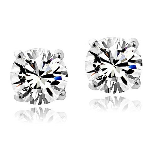 Crystal Ice Sterling Silver Birthstone 6mm Stud Earrings Made With Swarovski