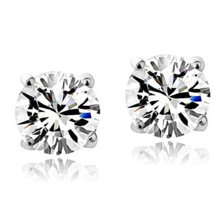 Crystal Ice Sterling Silver Swarovski Elements Birthstone 6mm Stud Earrings