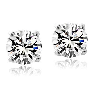 Crystal Ice Sterling Silver Birthstone 6mm Stud Earrings Made with Swarovski Crystal (More options available)
