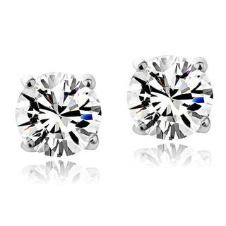 Crystal Ice Sterling Silver Swarovski Elements Birthstone 6mm Stud Earrings