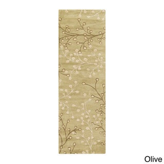 Hand-tufted Sakura Branch Floral Runner Wool Area Rug (3' x 12')