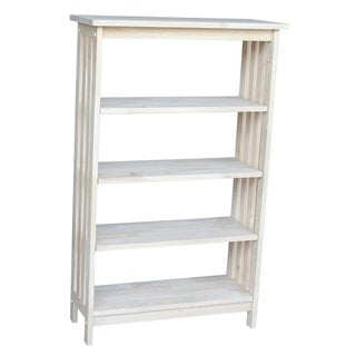 Unfinished Parawood Four-tier Mission Style Shelf Unit
