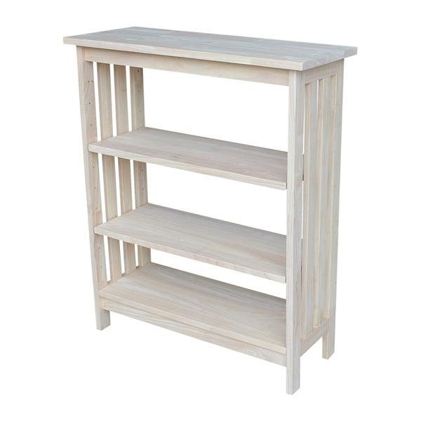 Unfinished Parawood 3 Shelf Mission Style Unit