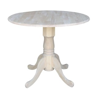 International Concepts Unfinished Round 36-inch Dual Drop-leaf Dining Table